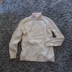 Lands End cream oversized turtleneck sweater